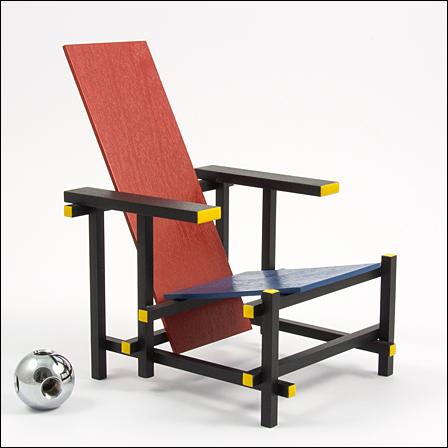 Rietveld - Rot blauer stuhl ...